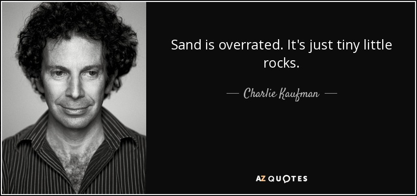 Sand is overrated. It's just tiny little rocks. - Charlie Kaufman