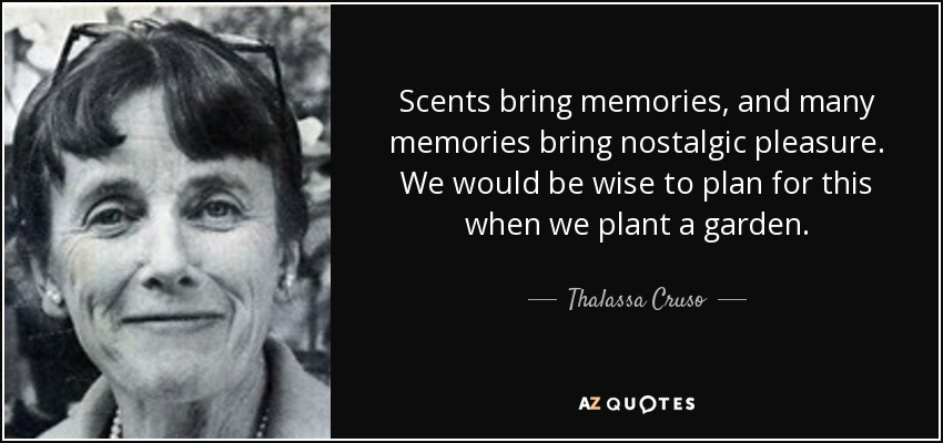 Scents bring memories, and many memories bring nostalgic pleasure. We would be wise to plan for this when we plant a garden. - Thalassa Cruso