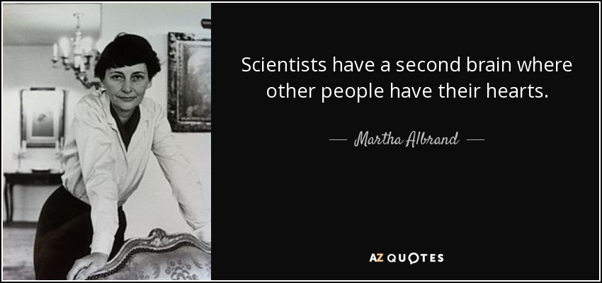 Scientists have a second brain where other people have their hearts. - Martha Albrand