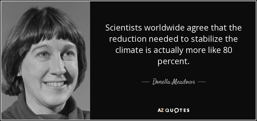Scientists worldwide agree that the reduction needed to stabilize the climate is actually more like 80 percent. - Donella Meadows