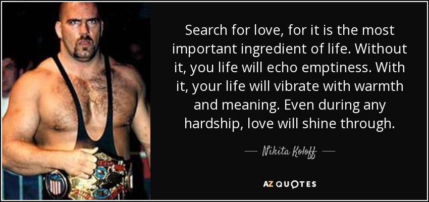 Search for love, for it is the most important ingredient of life. Without it, you life will echo emptiness. With it, your life will vibrate with warmth and meaning. Even during any hardship, love will shine through. - Nikita Koloff