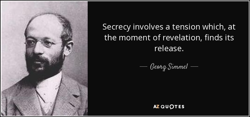 Secrecy involves a tension which, at the moment of revelation, finds its release. - Georg Simmel