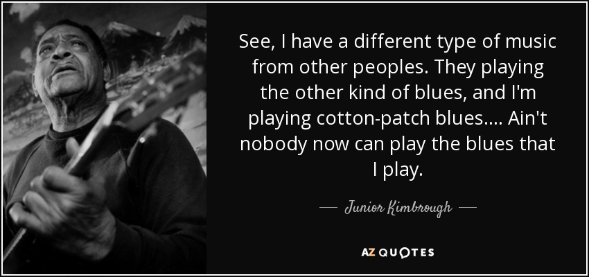 See, I have a different type of music from other peoples. They playing the other kind of blues, and I'm playing cotton-patch blues.... Ain't nobody now can play the blues that I play. - Junior Kimbrough