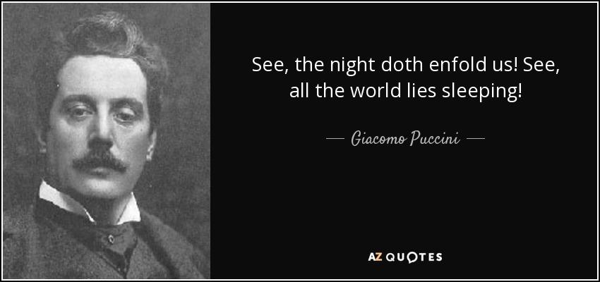 See, the night doth enfold us! See, all the world lies sleeping! - Giacomo Puccini