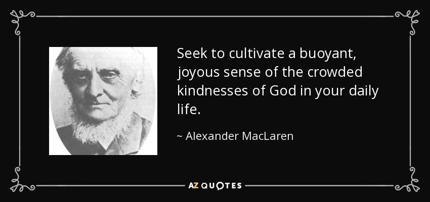 Seek to cultivate a buoyant, joyous sense of the crowded kindnesses of God in your daily life. - Alexander MacLaren