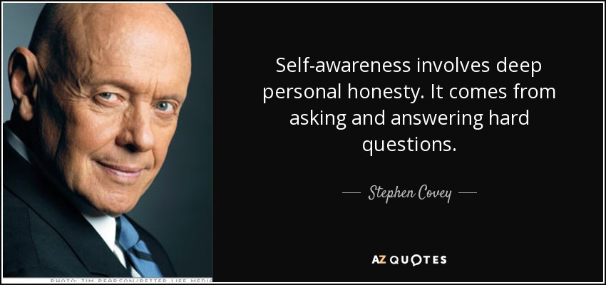 Stephen Covey quote: Self-awareness involves deep personal honesty
