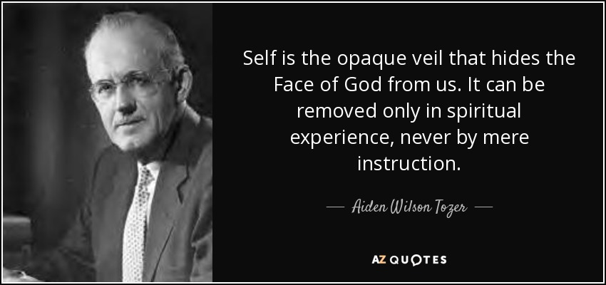 Self is the opaque veil that hides the Face of God from us. It can be removed only in spiritual experience, never by mere instruction. - Aiden Wilson Tozer
