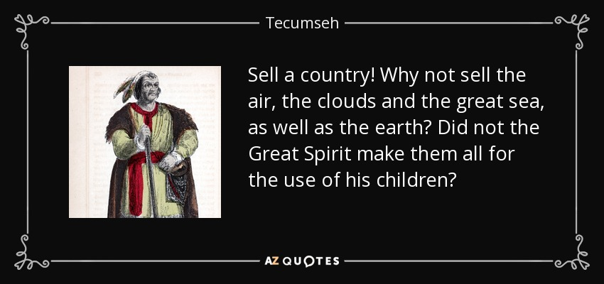 Sell a country! Why not sell the air, the clouds and the great sea, as well as the earth? Did not the Great Spirit make them all for the use of his children? - Tecumseh