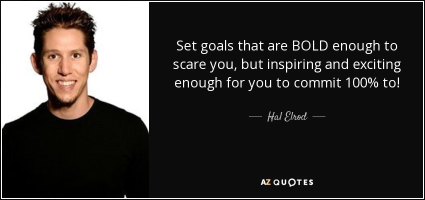 Set goals that are BOLD enough to scare you, but inspiring and exciting enough for you to commit 100% to! - Hal Elrod