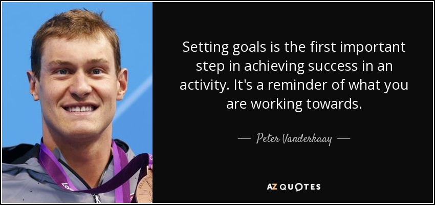 Setting goals is the first important step in achieving success in an activity. It's a reminder of what you are working towards. - Peter Vanderkaay