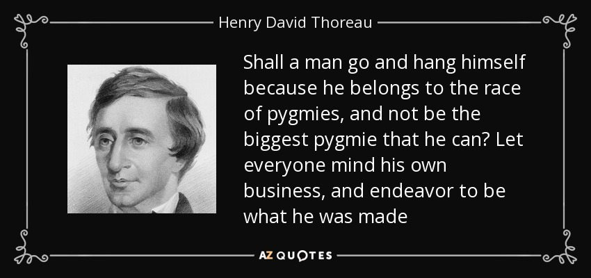 Shall a man go and hang himself because he belongs to the race of pygmies, and not be the biggest pygmie that he can? Let everyone mind his own business, and endeavor to be what he was made - Henry David Thoreau