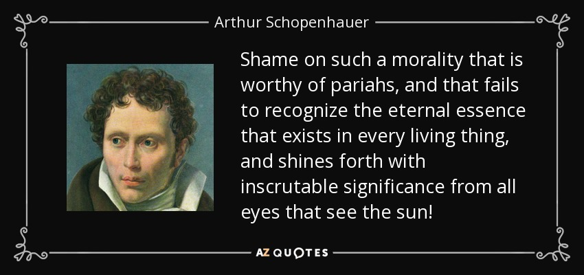 Shame on such a morality that is worthy of pariahs, and that fails to recognize the eternal essence that exists in every living thing, and shines forth with inscrutable significance from all eyes that see the sun! - Arthur Schopenhauer