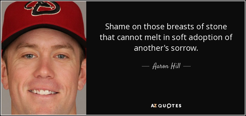 Shame on those breasts of stone that cannot melt in soft adoption of another's sorrow. - Aaron Hill