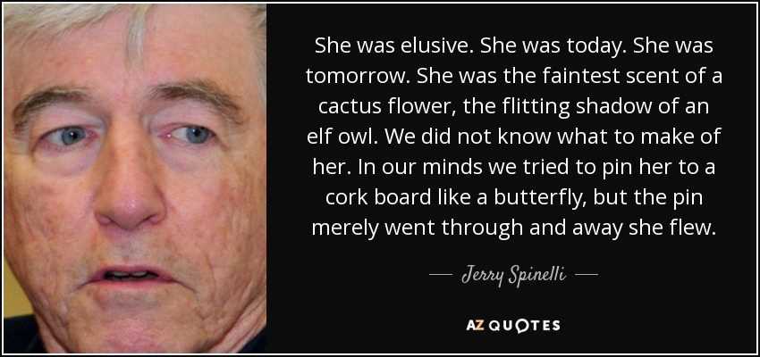 She was elusive. She was today. She was tomorrow. She was the faintest scent of a cactus flower, the flitting shadow of an elf owl. We did not know what to make of her. In our minds we tried to pin her to a cork board like a butterfly, but the pin merely went through and away she flew. - Jerry Spinelli
