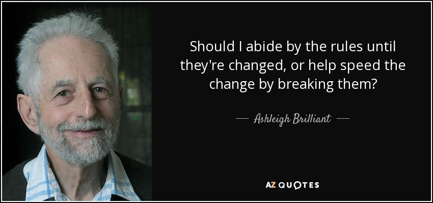 Should I abide by the rules until they're changed, or help speed the change by breaking them? - Ashleigh Brilliant
