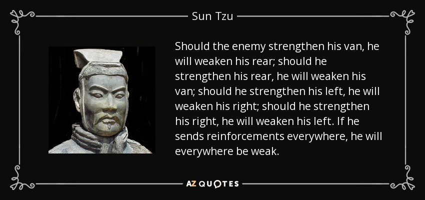 Should the enemy strengthen his van, he will weaken his rear; should he strengthen his rear, he will weaken his van; should he strengthen his left, he will weaken his right; should he strengthen his right, he will weaken his left. If he sends reinforcements everywhere, he will everywhere be weak. - Sun Tzu