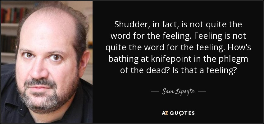 Shudder, in fact, is not quite the word for the feeling. Feeling is not quite the word for the feeling. How's bathing at knifepoint in the phlegm of the dead? Is that a feeling? - Sam Lipsyte