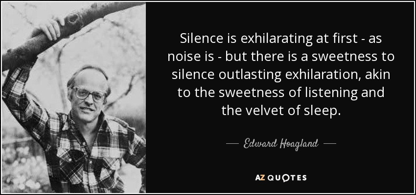 Silence is exhilarating at first - as noise is - but there is a sweetness to silence outlasting exhilaration, akin to the sweetness of listening and the velvet of sleep. - Edward Hoagland