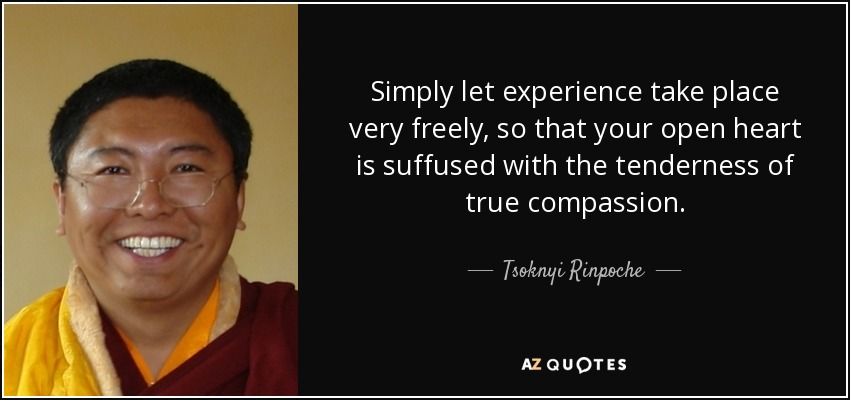 Simply let experience take place very freely, so that your open heart is suffused with the tenderness of true compassion. - Tsoknyi Rinpoche
