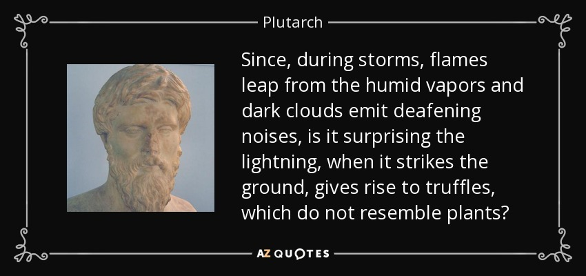 Since, during storms, flames leap from the humid vapors and dark clouds emit deafening noises, is it surprising the lightning, when it strikes the ground, gives rise to truffles, which do not resemble plants? - Plutarch