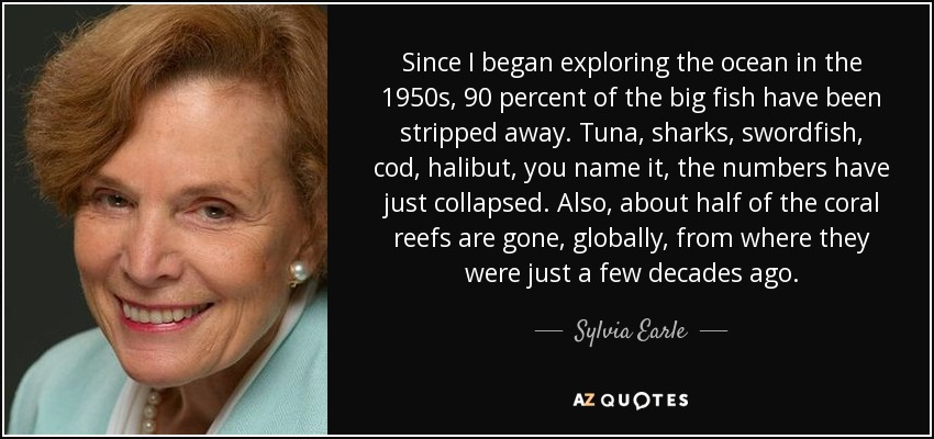 Since I began exploring the ocean in the 1950s, 90 percent of the big fish have been stripped away. Tuna, sharks, swordfish, cod, halibut, you name it, the numbers have just collapsed. Also, about half of the coral reefs are gone, globally, from where they were just a few decades ago. - Sylvia Earle