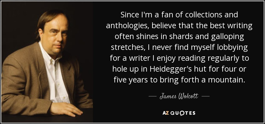 Since I'm a fan of collections and anthologies, believe that the best writing often shines in shards and galloping stretches, I never find myself lobbying for a writer I enjoy reading regularly to hole up in Heidegger's hut for four or five years to bring forth a mountain. - James Wolcott