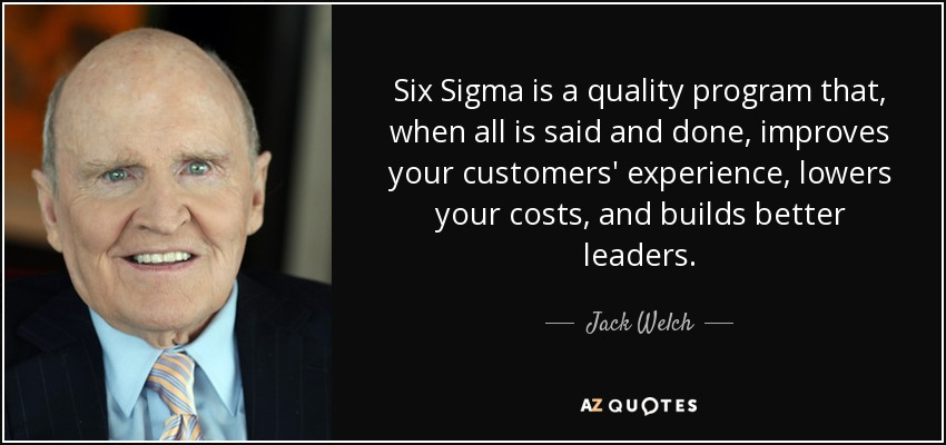 Jack Welch quote: Six Sigma is a quality program that, when all is...