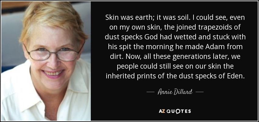 Skin was earth; it was soil. I could see, even on my own skin, the joined trapezoids of dust specks God had wetted and stuck with his spit the morning he made Adam from dirt. Now, all these generations later, we people could still see on our skin the inherited prints of the dust specks of Eden. - Annie Dillard