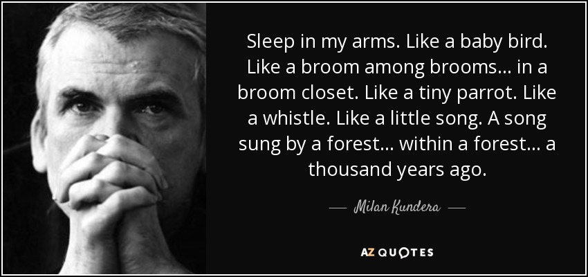 Sleep in my arms. Like a baby bird. Like a broom among brooms... in a broom closet. Like a tiny parrot. Like a whistle. Like a little song. A song sung by a forest... within a forest... a thousand years ago. - Milan Kundera