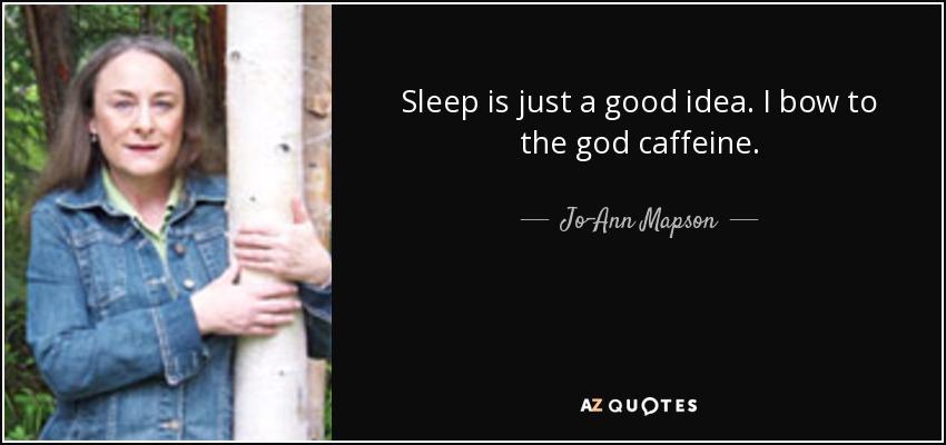 Sleep is just a good idea. I bow to the god caffeine. - Jo-Ann Mapson