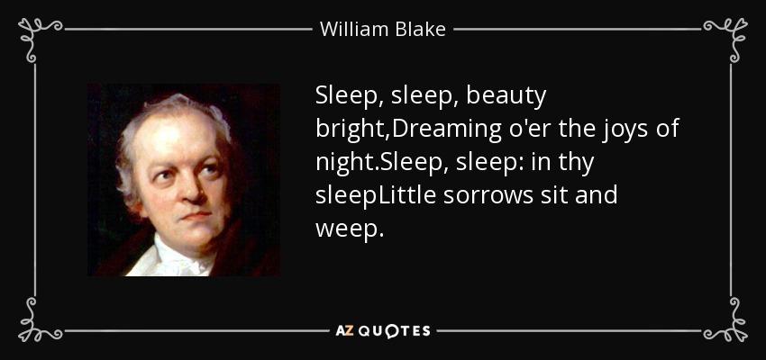 Sleep, sleep, beauty bright,Dreaming o'er the joys of night.Sleep, sleep: in thy sleepLittle sorrows sit and weep. - William Blake