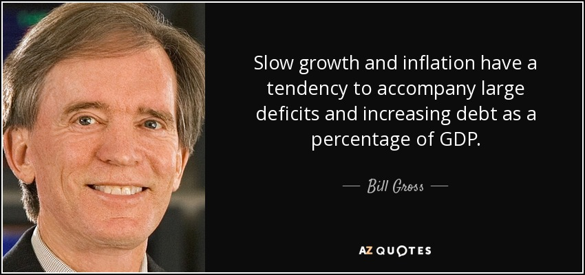 Slow growth and inflation have a tendency to accompany large deficits and increasing debt as a percentage of GDP. - Bill Gross