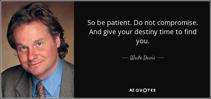 So be patient. Do not compromise. And give your destiny time to find you. - Wade Davis