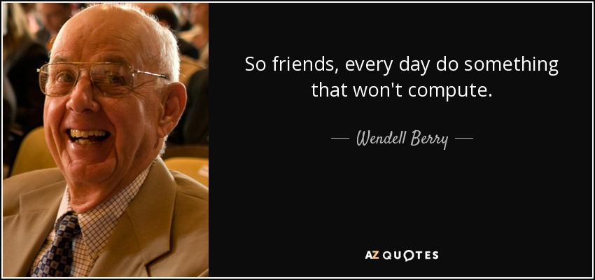 So friends, every day do something that won't compute. - Wendell Berry