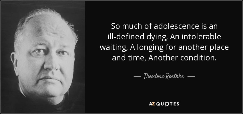 So much of adolescence is an ill-defined dying, An intolerable waiting, A longing for another place and time, Another condition. - Theodore Roethke