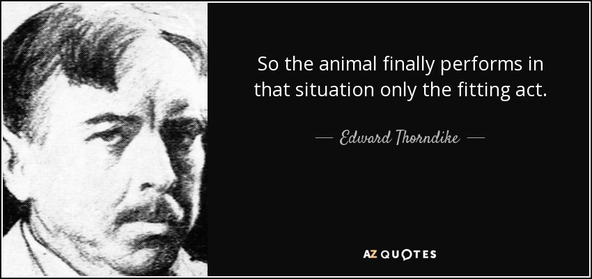 So the animal finally performs in that situation only the fitting act. - Edward Thorndike