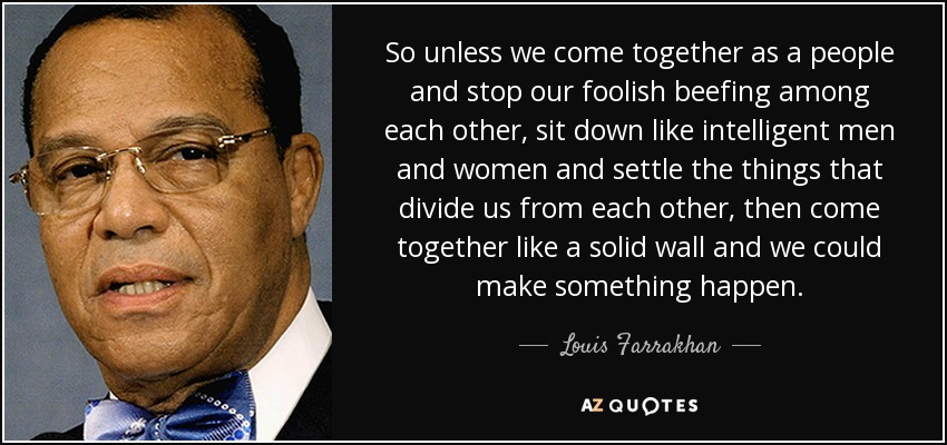 So unless we come together as a people and stop our foolish beefing among each other, sit down like intelligent men and women and settle the things that divide us from each other, then come together like a solid wall and we could make something happen. - Louis Farrakhan