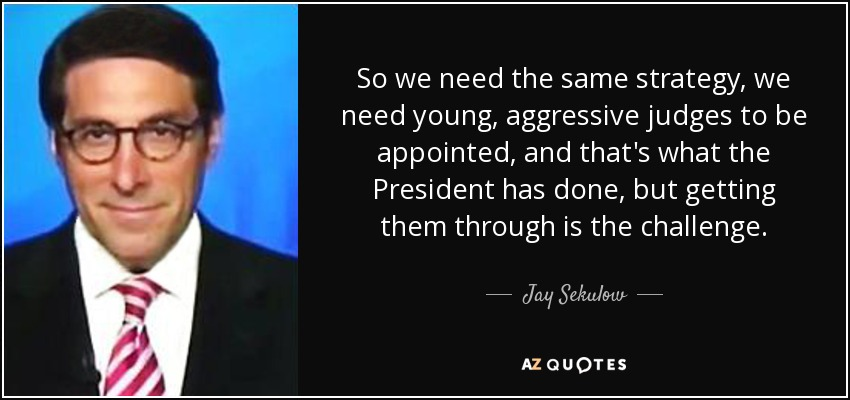 So we need the same strategy, we need young, aggressive judges to be appointed, and that's what the President has done, but getting them through is the challenge. - Jay Sekulow