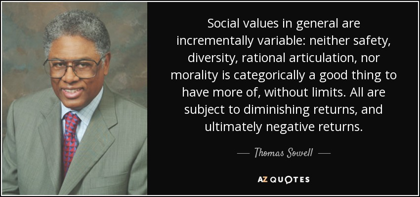 Social values in general are incrementally variable: neither safety, diversity, rational articulation, nor morality is categorically a good thing to have more of, without limits. All are subject to diminishing returns, and ultimately negative returns. - Thomas Sowell