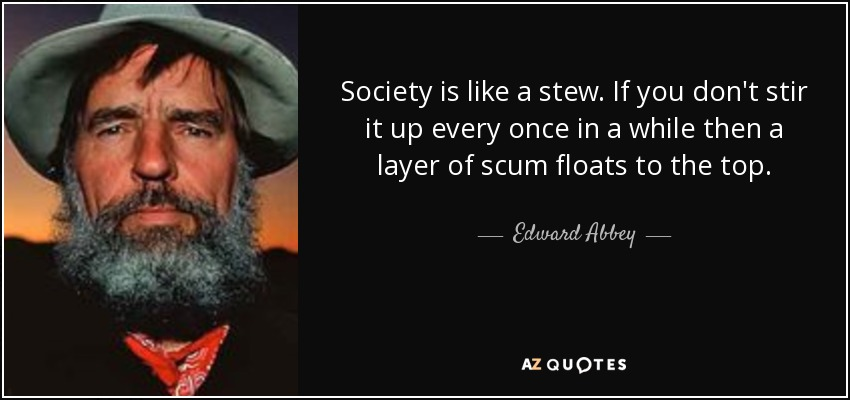 Society is like a stew. If you don't stir it up every once in a while then a layer of scum floats to the top. - Edward Abbey