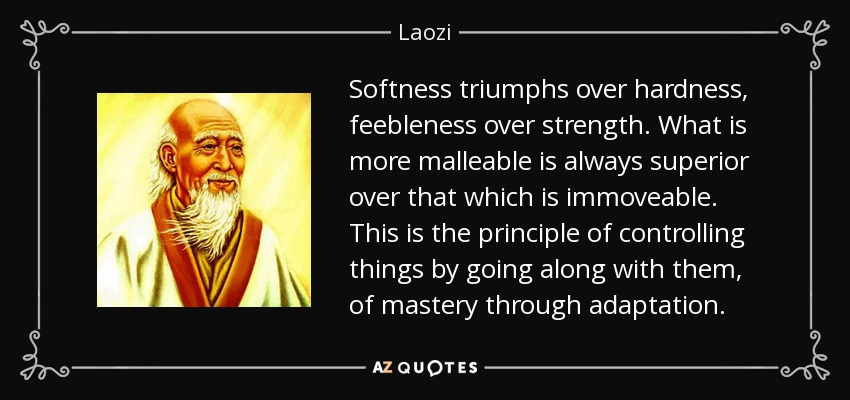 Softness triumphs over hardness, feebleness over strength. What is more malleable is always superior over that which is immoveable. This is the principle of controlling things by going along with them, of mastery through adaptation. - Laozi