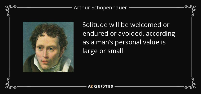 Solitude will be welcomed or endured or avoided, according as a man's personal value is large or small. - Arthur Schopenhauer