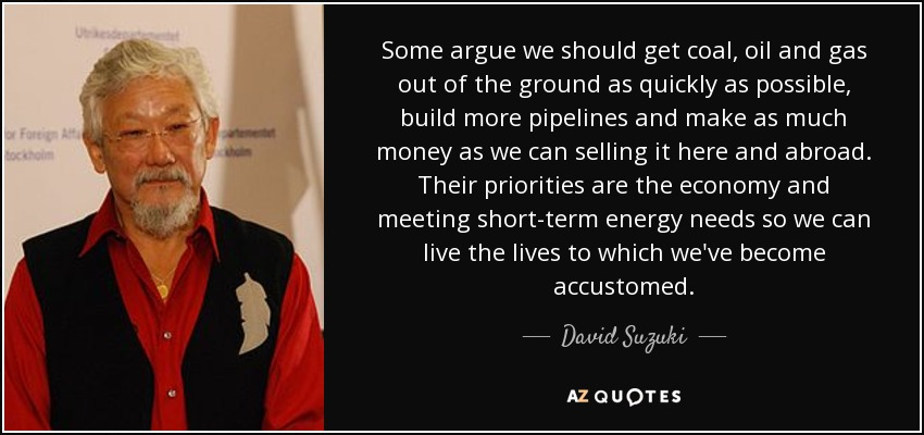 Some argue we should get coal, oil and gas out of the ground as quickly as possible, build more pipelines and make as much money as we can selling it here and abroad. Their priorities are the economy and meeting short-term energy needs so we can live the lives to which we've become accustomed. - David Suzuki