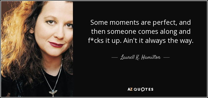 Some moments are perfect, and then someone comes along and f*cks it up. Ain't it always the way. - Laurell K. Hamilton