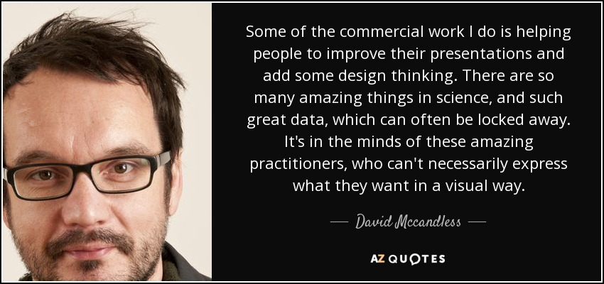 Some of the commercial work I do is helping people to improve their presentations and add some design thinking. There are so many amazing things in science, and such great data, which can often be locked away. It's in the minds of these amazing practitioners, who can't necessarily express what they want in a visual way. - David Mccandless
