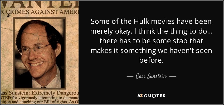 Some of the Hulk movies have been merely okay. I think the thing to do... there has to be some stab that makes it something we haven't seen before. - Cass Sunstein