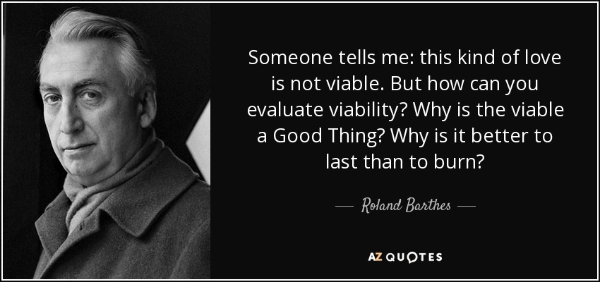 Someone tells me: this kind of love is not viable. But how can you evaluate viability? Why is the viable a Good Thing? Why is it better to last than to burn? - Roland Barthes