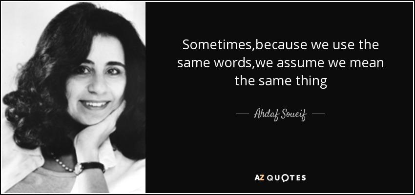 Sometimes,because we use the same words,we assume we mean the same thing - Ahdaf Soueif