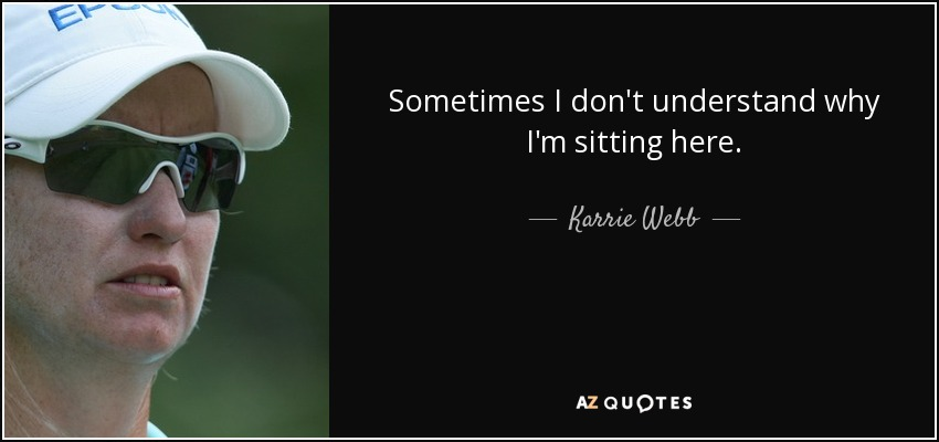 Sometimes I don't understand why I'm sitting here. - Karrie Webb