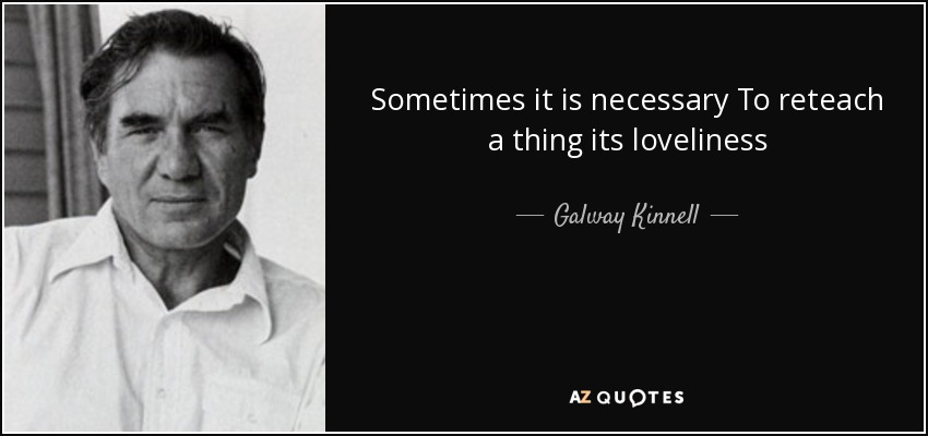 Sometimes it is necessary To reteach a thing its loveliness - Galway Kinnell